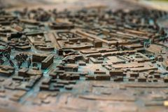 Close up : Three Dimensional Old Street map. stock photography