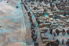 Close up : Three Dimensional Old Street map. stock images
