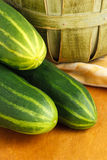 Close Up Of Three Fresh Cucumbers Stock Image