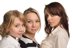 Close-up of three girls cut-out Royalty Free Stock Photos