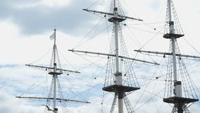 Close up of three masts of frigate stock footage