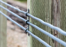 Close-up of three metal cables attached to wood Royalty Free Stock Photo