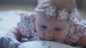 Three Months Old Baby Girl With Blue Eyes. Newborn Child, Little Adorable Peaceful and Attentive Girl Looking Surprised Smiling at. Close-up of a Three Months stock video footage