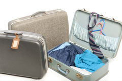 Close-up of three old suitcases Stock Photo