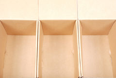 Close-up of three open cardboard boxes Royalty Free Stock Photography