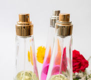 Close up of three Perfume bottle's top Stock Photo
