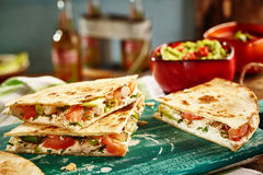 Close up of three quesadillas with salsa Stock Photography