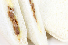 Close up three  sandwich. On white dish Royalty Free Stock Photo