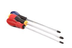 Close up of three screwdrivers. Royalty Free Stock Image