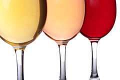 Close-up of three wineglasses Royalty Free Stock Photography