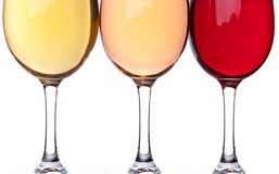 Close-up of three wineglasses Stock Photo