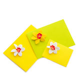 Close up of three yellow envelope with flowers Royalty Free Stock Image