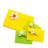 Close up of three yellow envelope with flowers Royalty Free Stock Photos