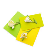 Close up of three yellow envelope with flowers Stock Images