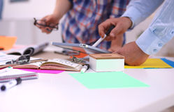Close-up of three young creative designers working Royalty Free Stock Photography