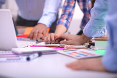 Close-up of three young creative designers working Stock Photos