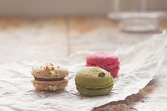 Close up of Three yummy macaroons blur background Stock Photography