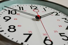 A close up of a ticking clock. royalty free stock photo