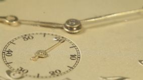 Close up of a ticking pocket watch. Close up of a ticking old pocket watch with moving seconds hand stock footage