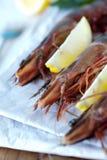 Close up tiger shrimp with lemon Stock Photo