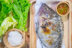 Close up tilapia grilled with vegetable Stock Photo
