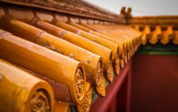 Close up tile Roof decorations in the Forbidden City, Beijing - China stock photos