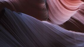 Close up tilt down shot of lower antelope canyon in arizona in page