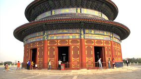 Close up tilt down from the Temple of Heaven in Beijing stock footage