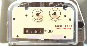Close up timelapse Residential urban natural gas meter measuring gas consumption