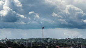 Close-up timelapse of the TV tower in Vilnius, Lithuania. stock video
