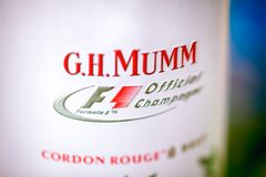 Close-up of tin box of G.H. Mumm champagne. Stock Photos