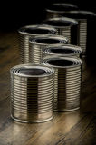 Close up of tin cans for food Royalty Free Stock Photos
