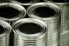 Close up of tin cans for food. Selective focus and color effect Royalty Free Stock Images