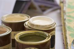 Close-up of tins of paint (differential focus) Stock Photo