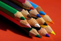 The tip of color pencils royalty free stock images