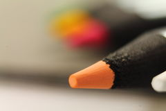 Close up of tip of orange color pencil Royalty Free Stock Photos
