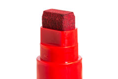 Close-up of a tip of a red marker (felt-tip) pen. Isolated on white background Stock Photo
