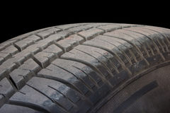 Close up of tire on black background Royalty Free Stock Photography