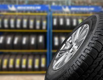 Close up tires. For sell at the shop royalty free stock photography
