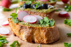 Close up to bruschetta Royalty Free Stock Photography