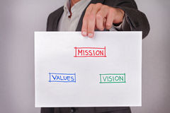 Close up to businessman paper with words vision, mission, values. Start up project, business vision, success, team work,  leadersh Royalty Free Stock Photos