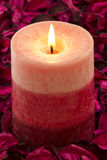 Close up to the candle on rose petals Royalty Free Stock Photos