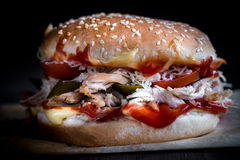 Close up to chicken burger Royalty Free Stock Images