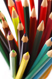 Close up to colorful pencils in a pencil box on a white background Royalty Free Stock Photo