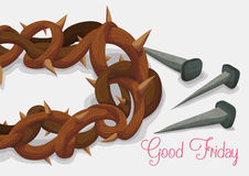 Close-up to Crown of Thorns and Rusty Nails for Good Friday, Vector Illustration stock image
