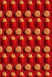 Close Up to French Fries and Burgers, High Calorie Junk Food, Background. Pattern Royalty Free Stock Photography