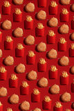 Close Up to French Fries and Burgers, High Calorie Junk Food, Background Royalty Free Stock Photos