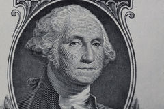Close up to George Washington portrait on one dollar bill Stock Images