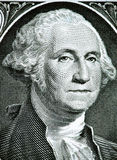 Close up to George Washington portrait on one dollar bill. Toned Stock Photos