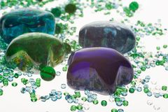 Close up to glass stones. And beads Stock Photo